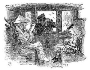 John+Tenniel+-+Through+the+Looking+Glass+-+Alice+in+Train
